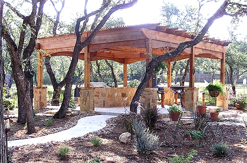 Cedar Arbor with Custom Stone Work