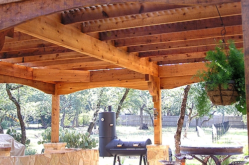 Detail of Cedar Arbor with Custom Stone Work