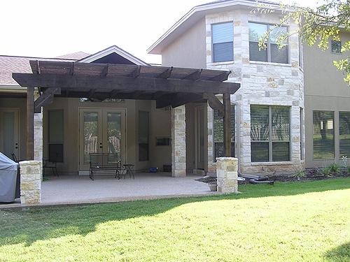 Cedar Arbor with Custom Stone Pillars