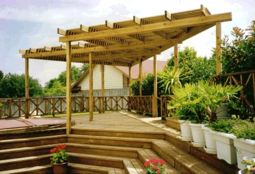 Treated Lumber Arbor over Composite Deck