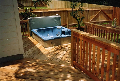 Treated Lumber Spa Deck