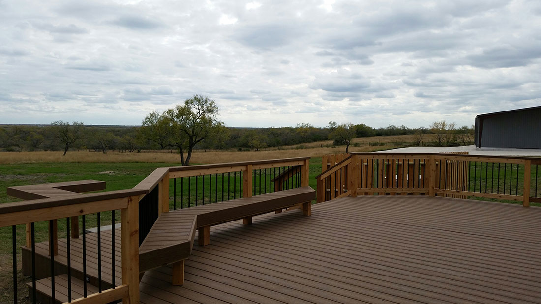 Composite Deck and Bench with Cedar Rails