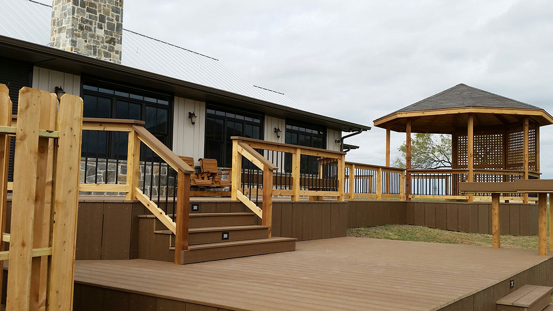 Composite Deck with Cedar Deck and Recessed Lighting