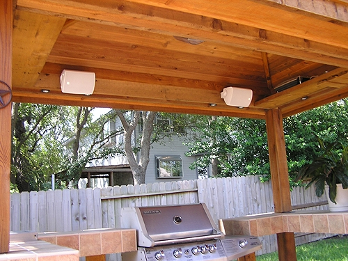 Cedar Gazebo with Built-In Speakers and Lighting