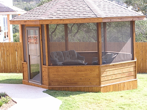 Stained Cedar Gazebo with Screens