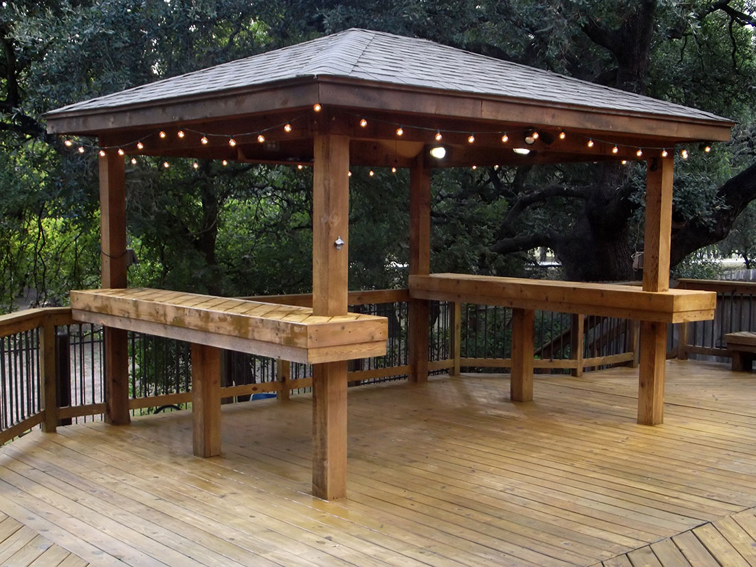 Cedar Gazebo with Bar Tops and Lighting