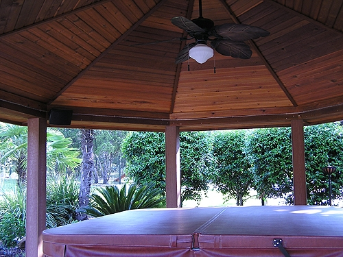 Cedar Hot Tub Gazebo with Decorative Ceiling, Ceiling Fan and Rope Lighting