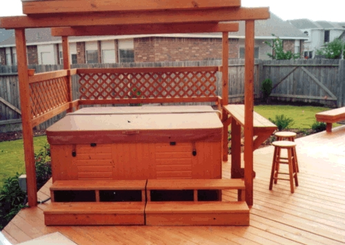 Redwood Arbor on Treated Lumber Spa Deck