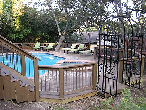 Composite Pool and Hot Tub Surround Deck
