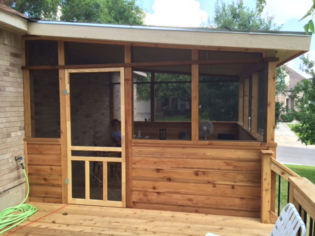 Cedar Enclosure With Wood Screen Door