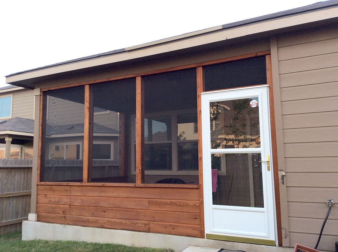Cedar Screened Porch With Glass Storm Door