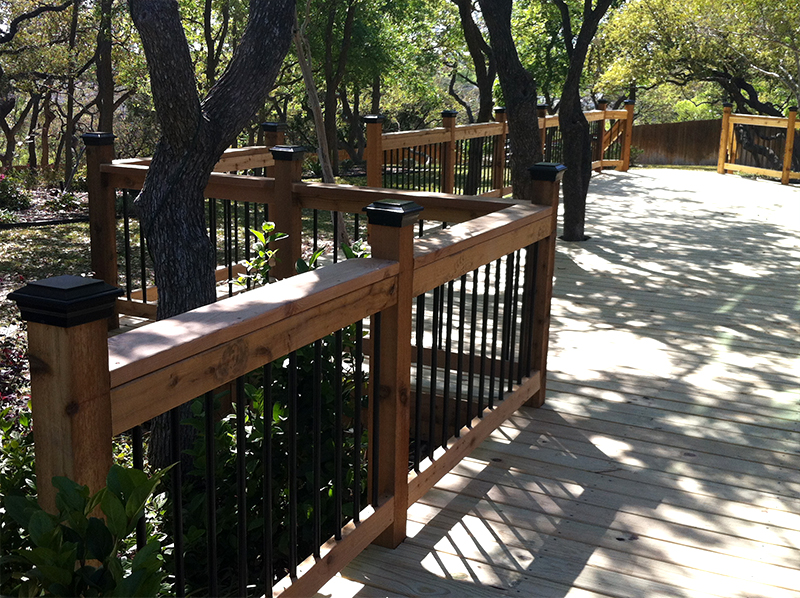 Decorative Post Caps, Redwood Railings, and Decorative Balusters