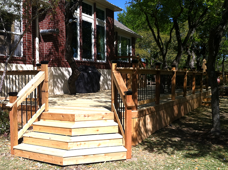 Elegant Corner Stairs Lead up to Treated Pine Deck