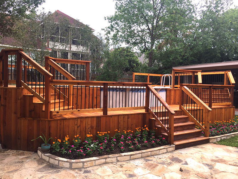 Multi-Level Cedar Pool Surround Deck Side View