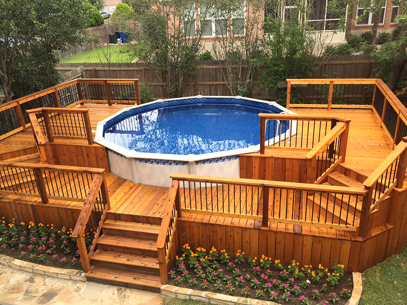 Multi-Level Cedar Pool Surround Deck Top View