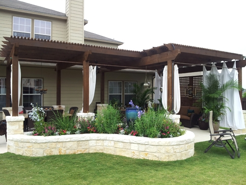 Stained Cedar Arbor with Stone Planters