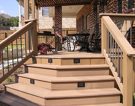 Composite Deck with Recessed Step Lighting