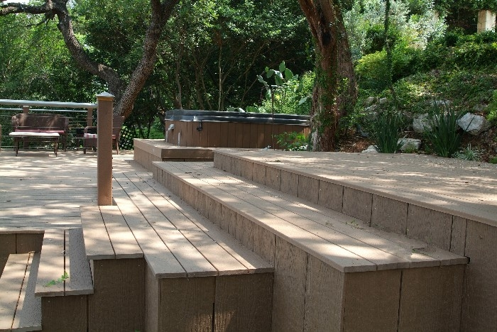 Custom Composite Spa Deck set in hillside