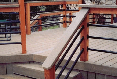 Composite Deck with Redwood Uprights