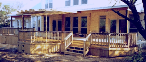 Cedar Patio Deck with Partial Arbor Cover