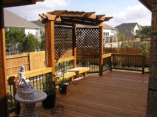 Stained Cedar Deck and Pergola with Seating Area