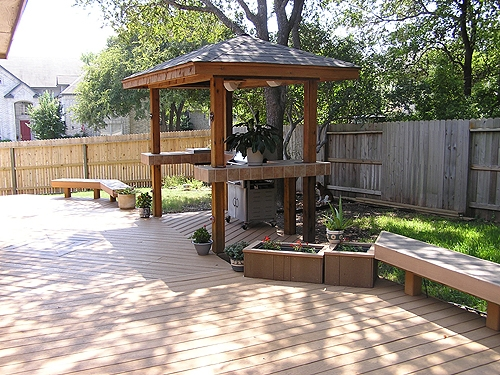 Stained Gazebo with Tiled Bar Tops