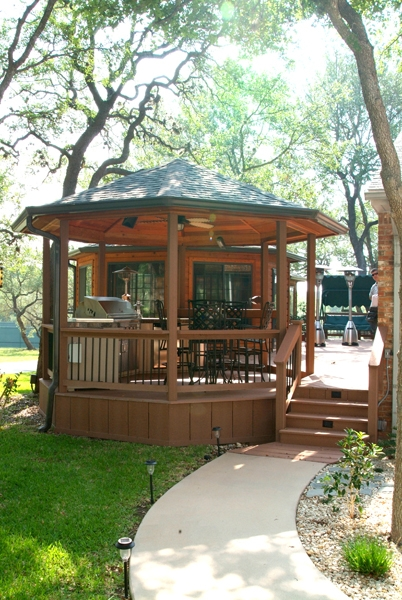 Open Cedar Gazebo with Outdoor Kitchen