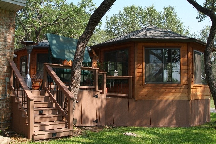 Twin Cedar Gazebos with Composite Decking and Stairway