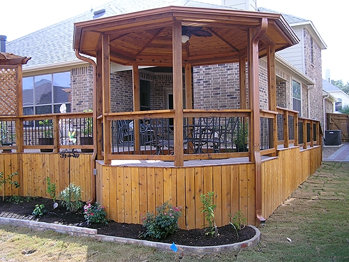 Cedar Gazebo with Skirted Cedar Deck
