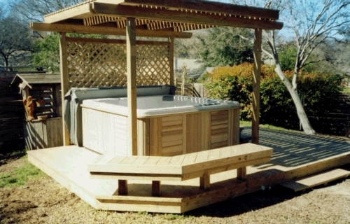 Treated Lumber Hot Tub Deck