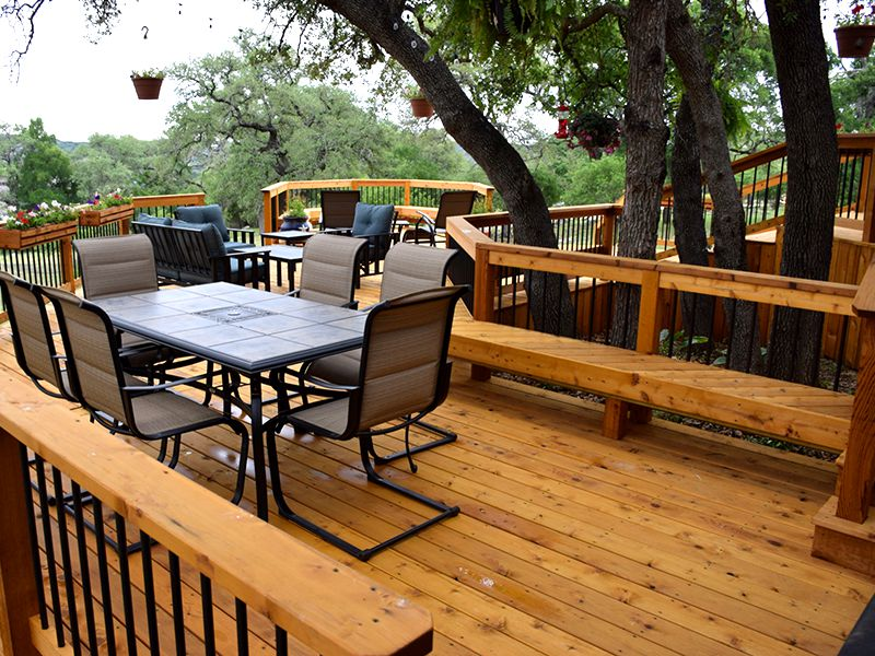 Treated Cedar Split-Level Deck