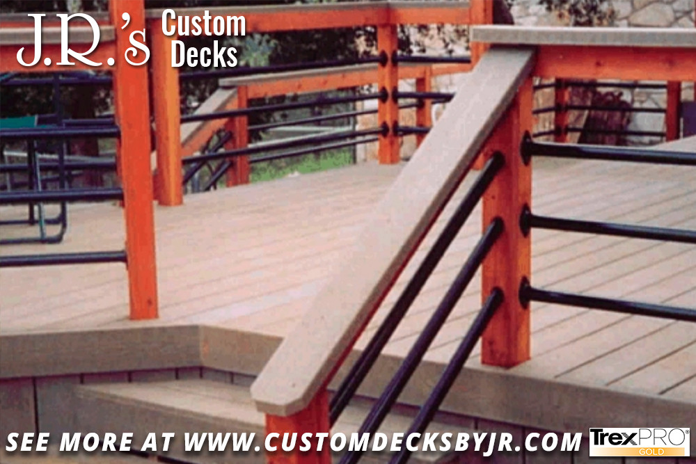 Elegant Trex Composite Deck with Redwood Uprights and Elegant Metal Rails