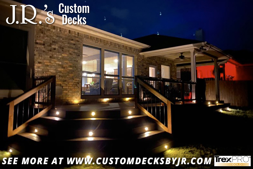 Trex Composite Deck With Lighted Stairs and Cover